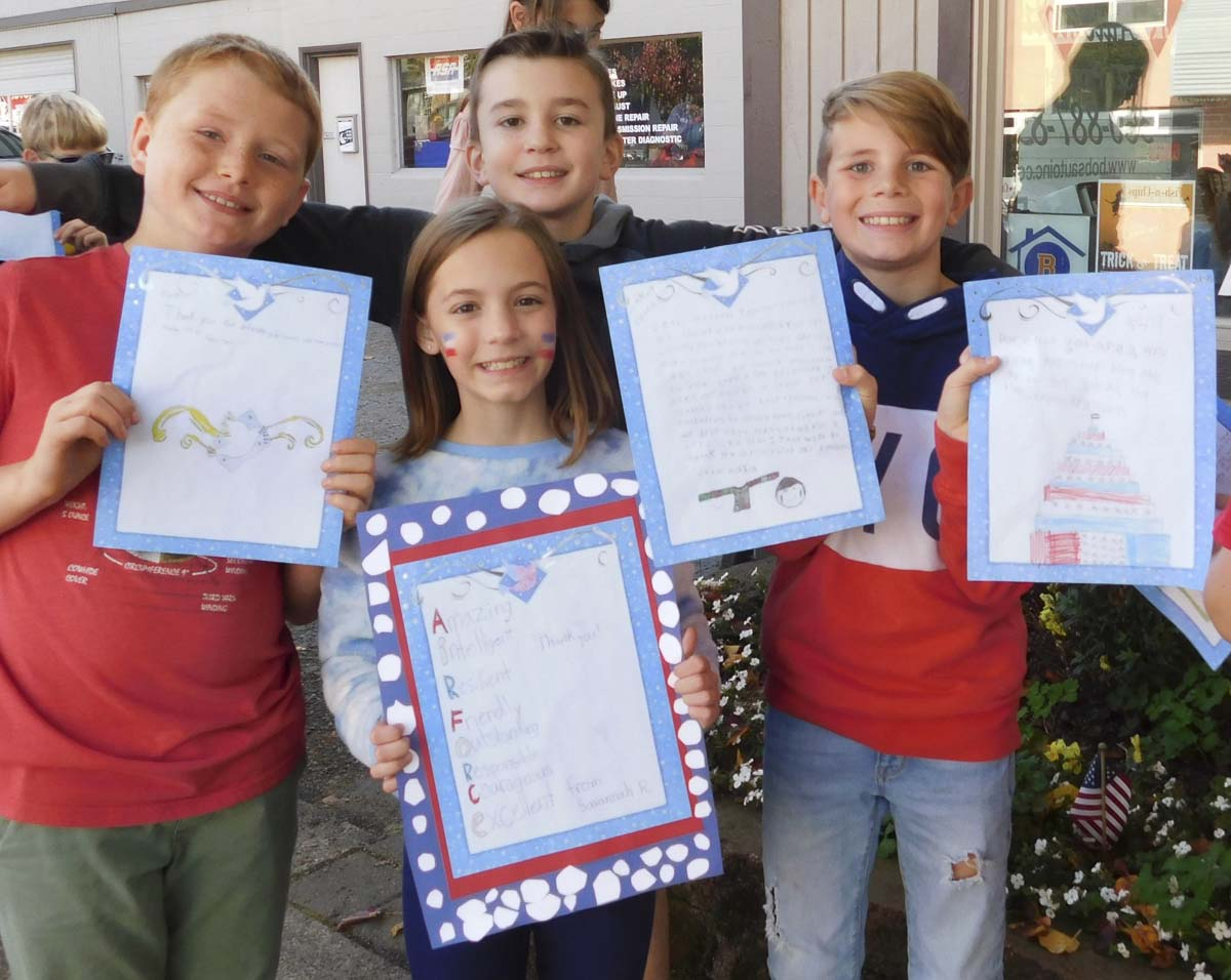 Union Ridge Elementary School fourth graders made cards and letters, poems and art for military service members. Photo courtesy of Ridgefield Public Schools
