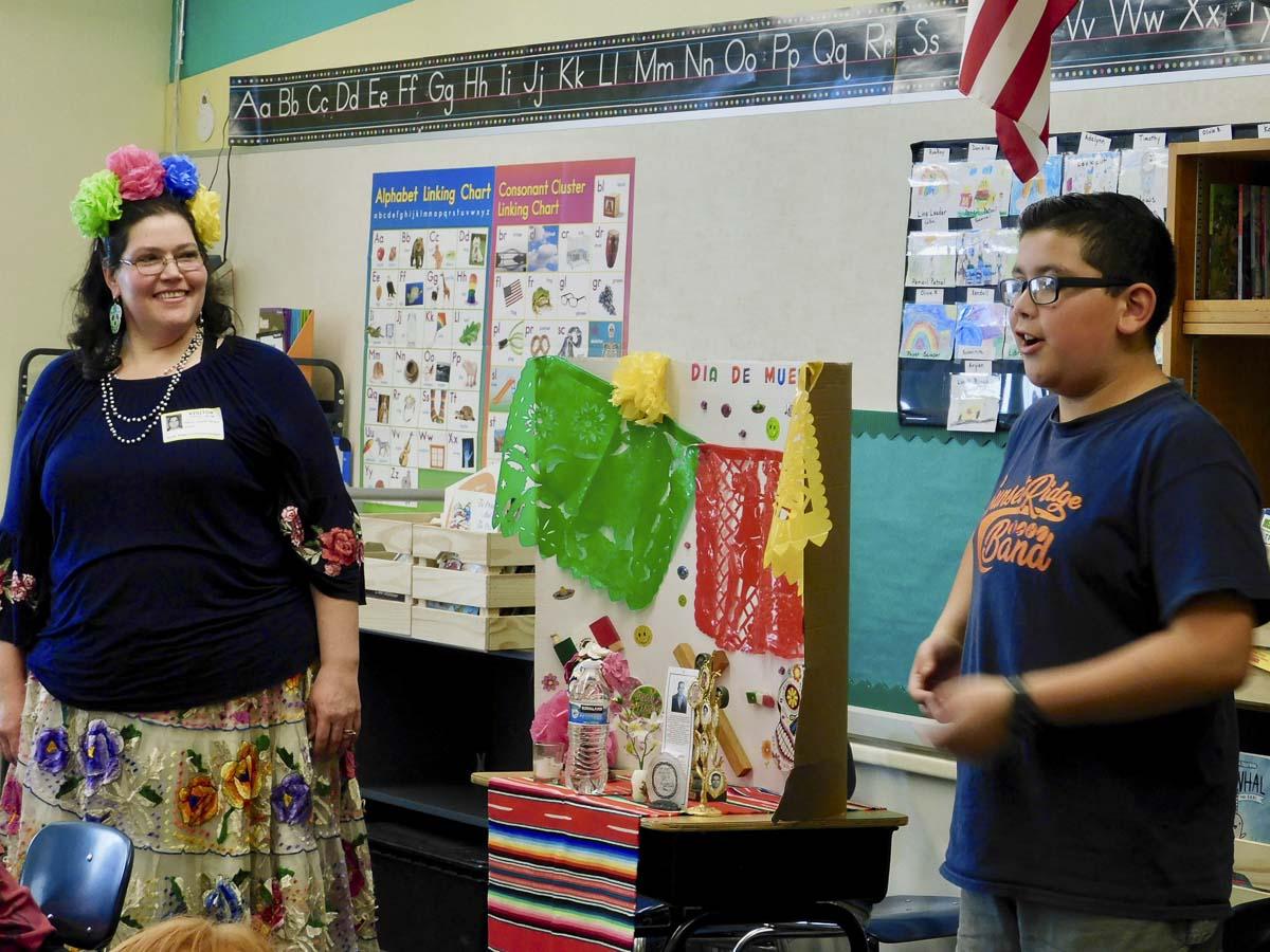 Rebeca Jaramillo and her son, Miguel, teach South Ridge Elementary second graders about Dia de los Muertos. Photo courtesy of Ridgefield Public Schools