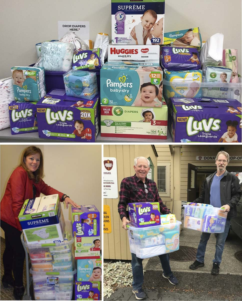 Diapers collected and delivered by city of Battle Ground employees during a recent Diaper Driver. Photo courtesy of city of Battle Ground