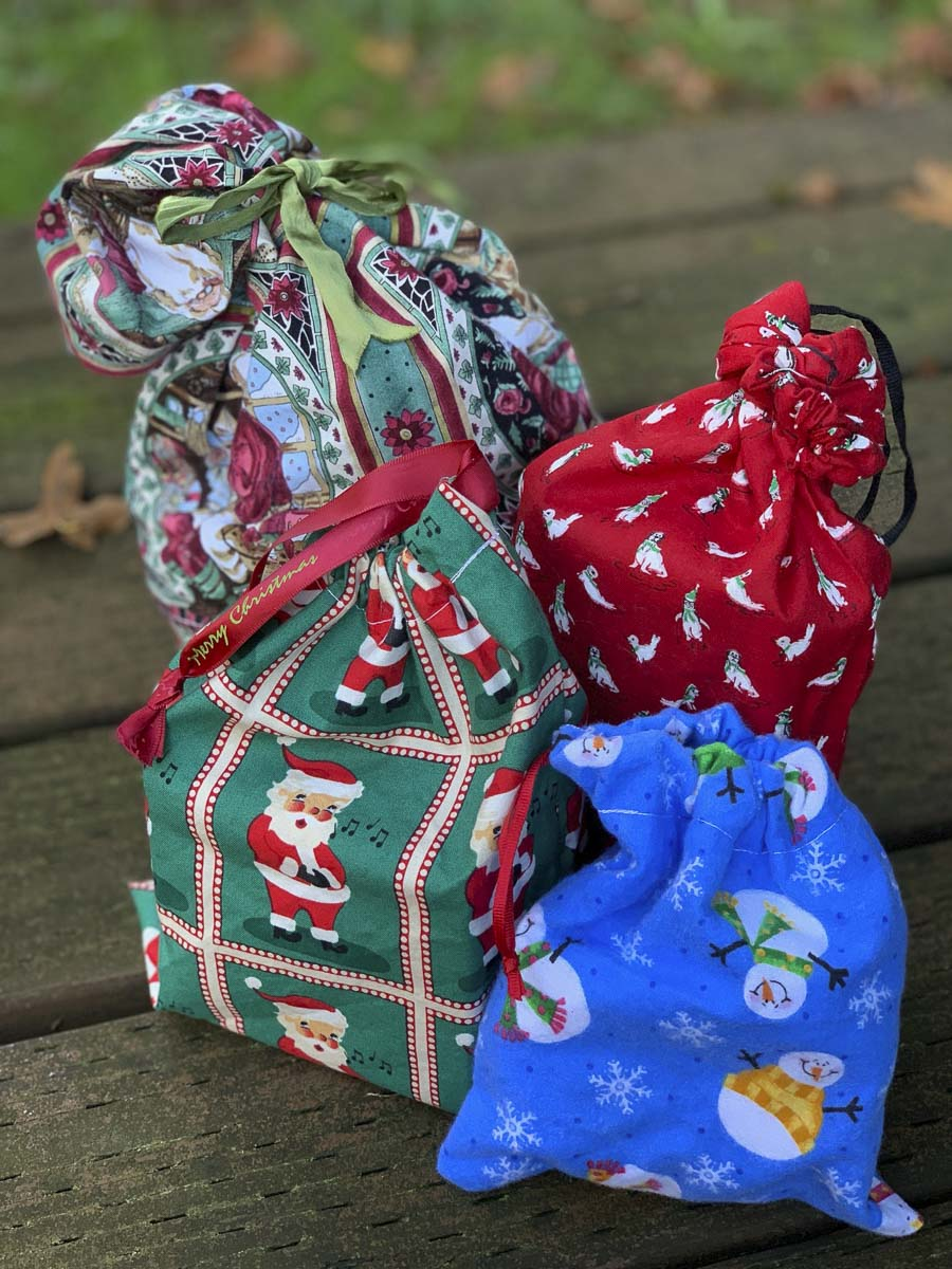 Fabric gift wrapping bags can help reduce waste around the holiday season. Photo courtesy of Columbia Springs