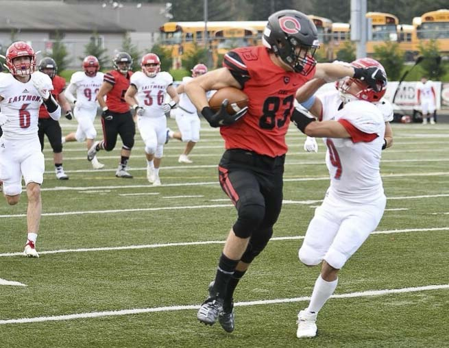 Jackson Clemmer uses his size and strength to get open for the Camas Papermakers. He has 15 touchdown receptions in 12 games. Photo by Kris Cavin.