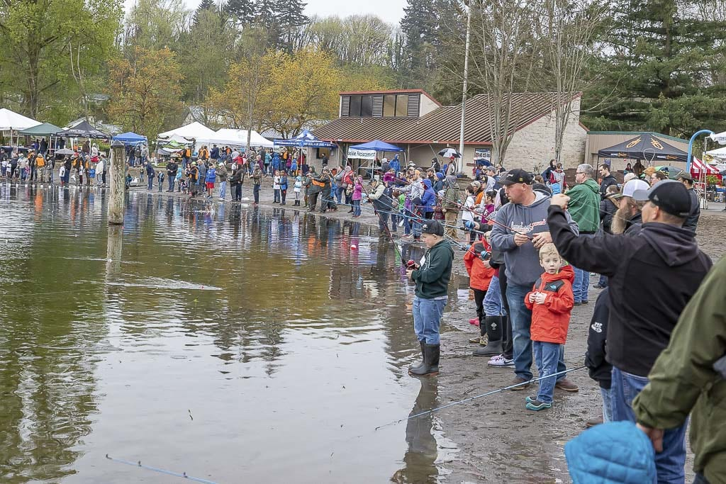Families from around Clark County participated in this Fishing Derby in April of 2018 at Klineline Pond in Vancouver. The Washington Department of Fish and Wildlife is stocking Klineline Pond and Battle Ground lake with thousands of large trout in preparation for a Black Friday fishing event. Photo by Mike Schultz