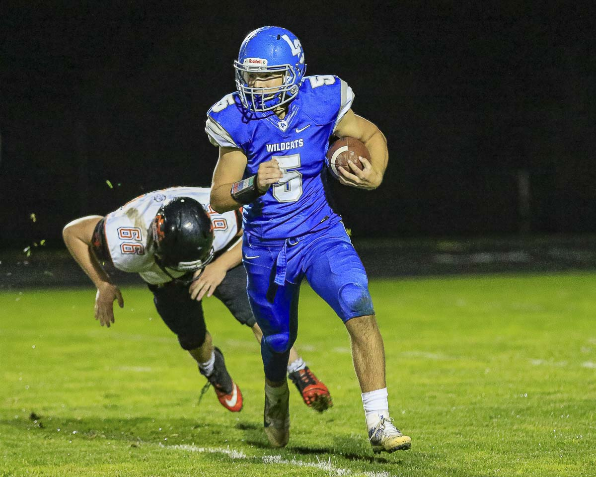 Bryten Schmitz earned first-team, all-league status at running back for the La Center Wildcats. Photo by Mike Schultz