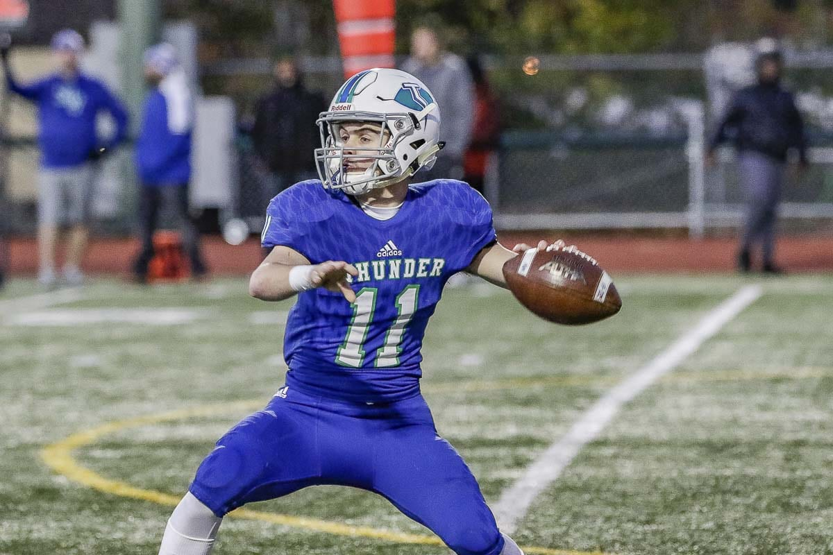 Garrett Moen was the quarterback of the 2018 Mountain View team that reached the state semifinals. One of the team leaders, he was on the field for practice on Thanksgiving Day along with Union's football team when the two teams met, took photos, and produced a short video. Photo by Mike Schultz