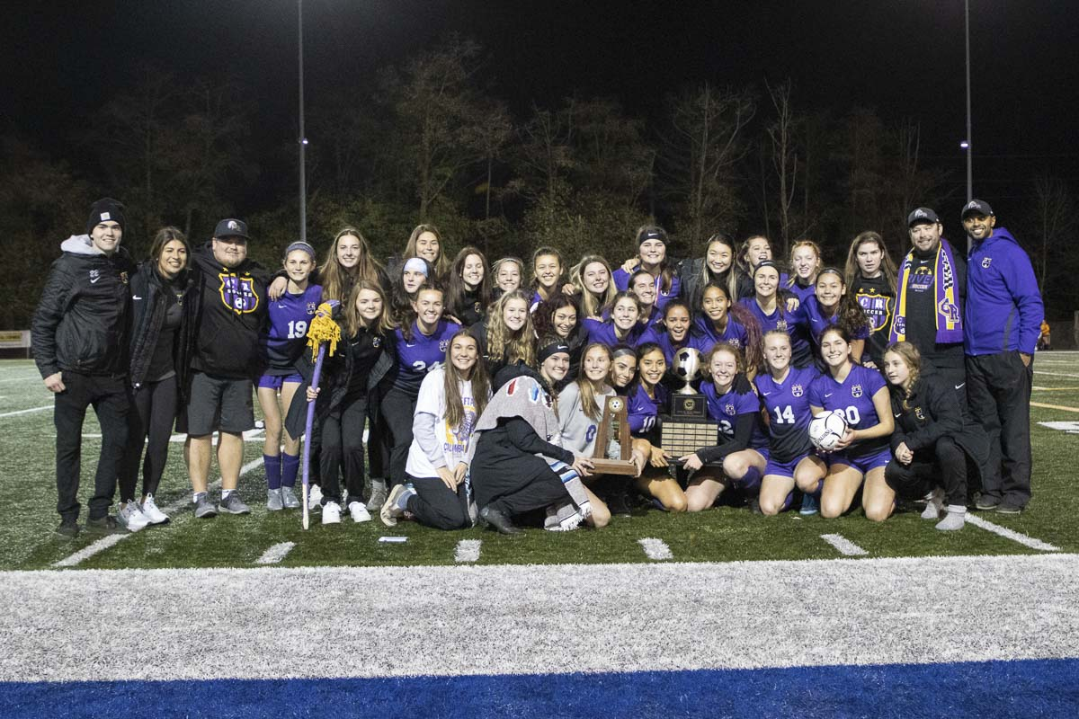 The Columbia River Chieftains gather after winning the Class 2A girls soccer state championship Saturday at Shoreline Stadium. The Chieftains defeated Greater St. Helens League mate Hockinson 1-0 in the championship game. Photo courtesy of Alan Moditz