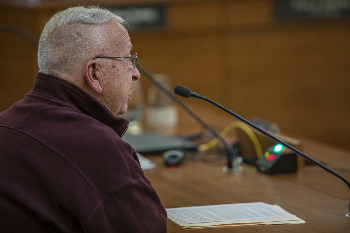 Vancouver resident Sam Bateman, speaking before city council on Monday, says Stronger Vancouver could price him out of the city. Photo by Jacob Granneman