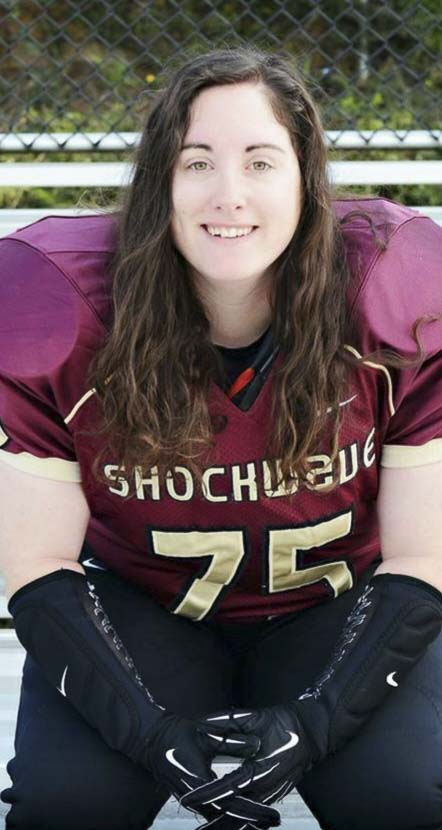 Crystal Steinmueller, who was a linebacker in her playing days, still helps the Fighting Shockwave on game days. She said playing in a women's football league was special, and it brought many new friendships. Photo courtesy of Crystal Steinmueller