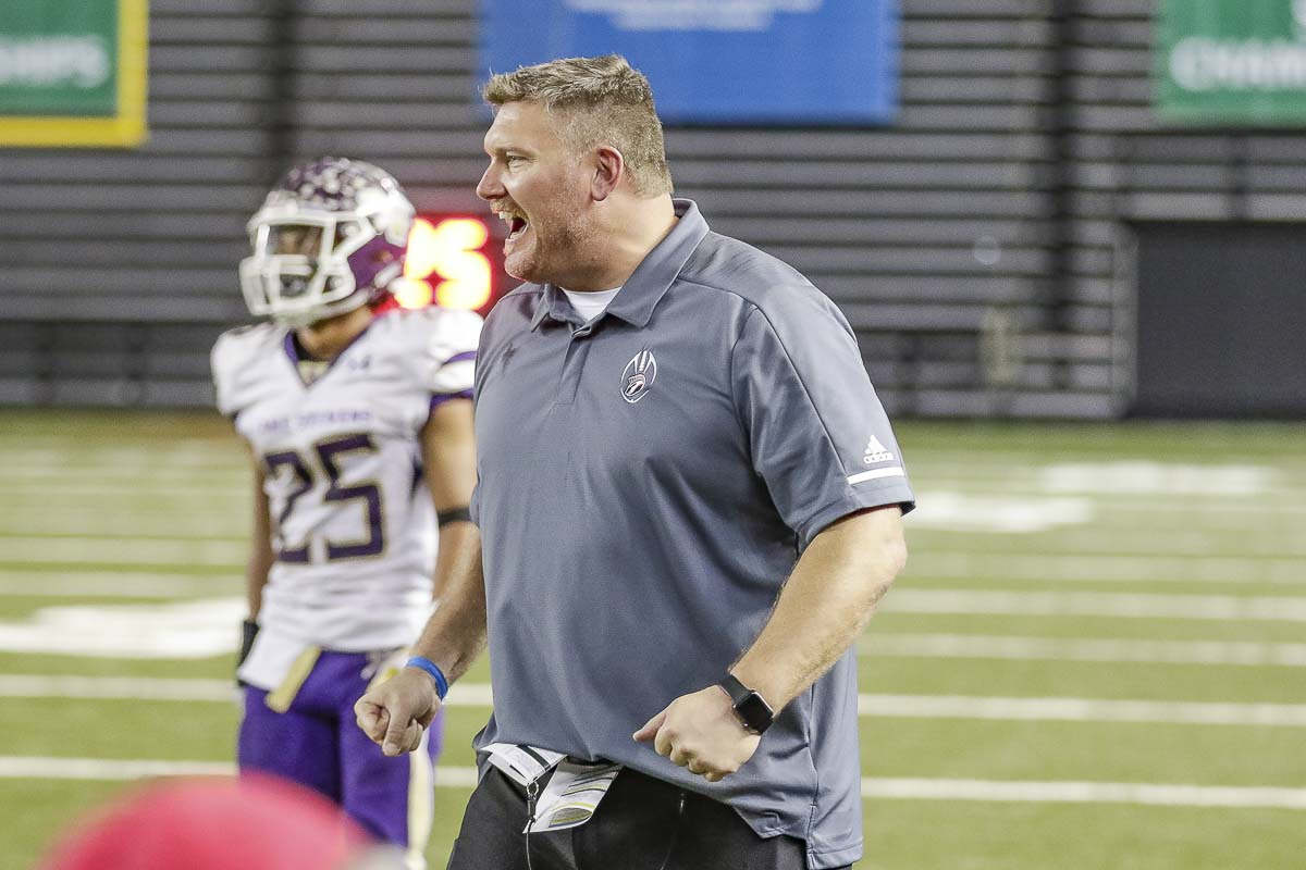 Union coach Rory Rosenbach guided his team to the 2018 Class 4A state championship, five days after receiving word his team was placed on probation for a bizarre holiday meeting with Mountain View. Photo by Mike Schultz