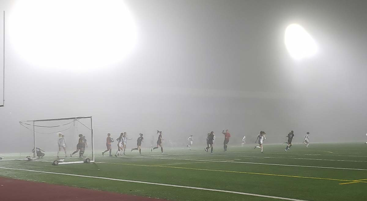 It was difficult to see the match Wednesday with all the fog at McKenzie Stadium, but the Union Titans found their way to a victory over Lake Stevens to advance to the Class 4A state quarterfinals. Photo by Paul Valencia