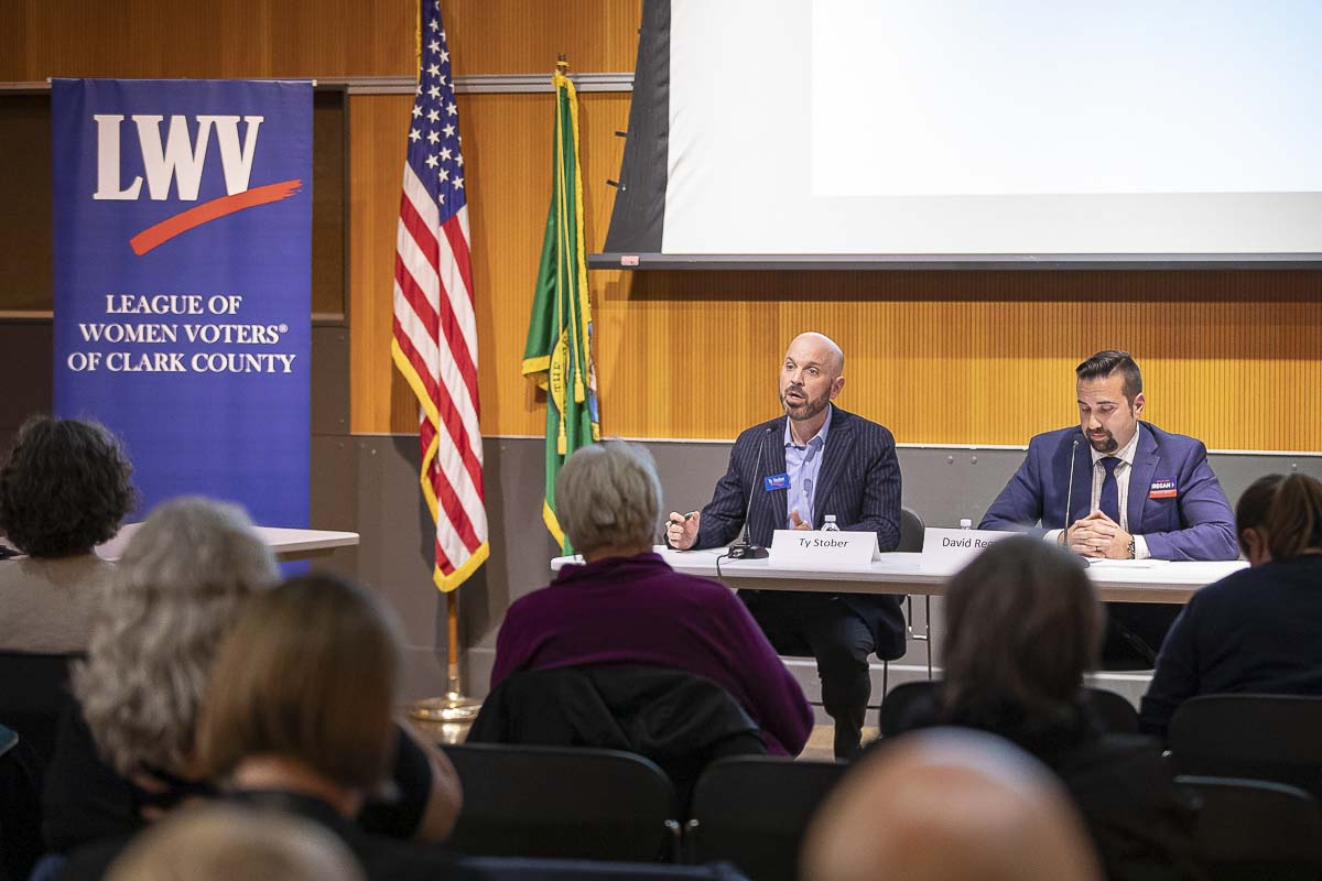 Ty Stober (left) and David Regan (right) are shown her at a recent League of Women Voters of Clark County Candidate Forum. The two are vying for Position 5 on the Vancouver City Council in Tuesday's general election. Photo by Mike Schultz