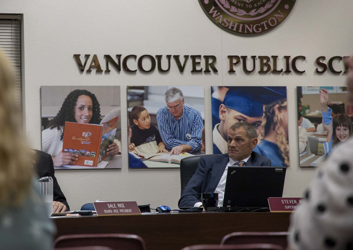 Vancouver Public School Superintendent Steve Webb listens to a presentation during Monday's school board meeting. Photo by Chris Brown