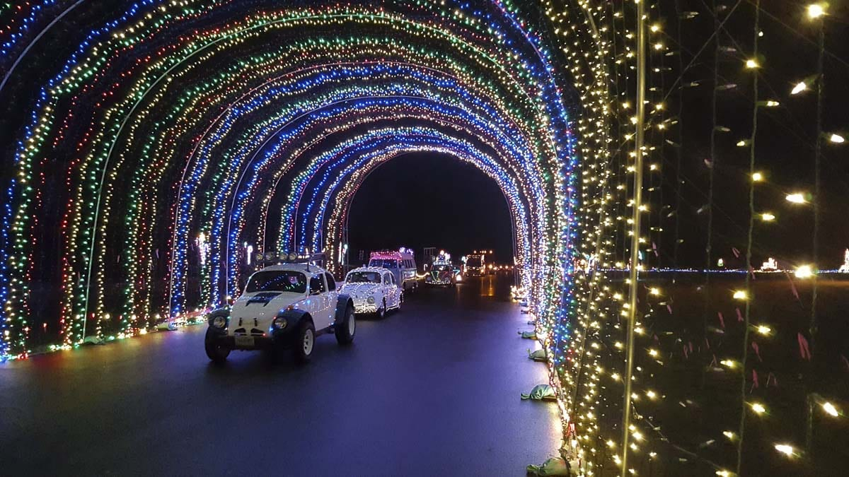 The Safeway Winter Wonderland holiday light show, powered by Advantis Credit Union, opens for the season starting Fri., Nov. 29, from 5 to 11 p.m. at Portland International Raceway. Photo courtesy of Portland Police Bureau