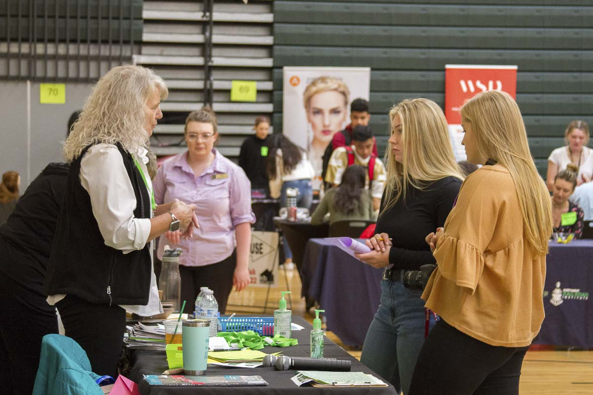 Business owners and professionals taught students about the variety of different jobs available at a single company. Photo courtesy of Woodland Public Schools