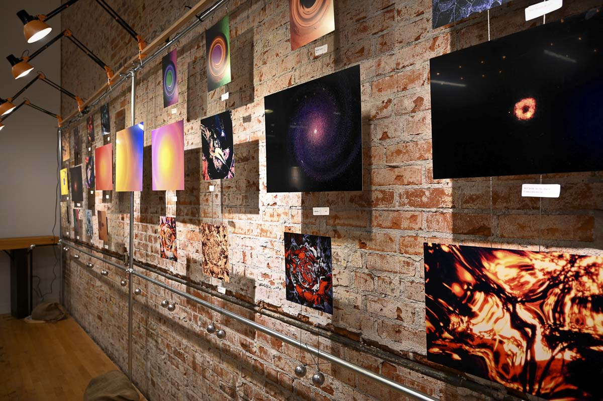 Dimitri Zhgenti's abstract photography is seen here on display as a temporary art gallery part of Musica Lanterna's Classical Concert Series. Each concert will showcase a different artist's work. Photo courtesy of Heather Finch