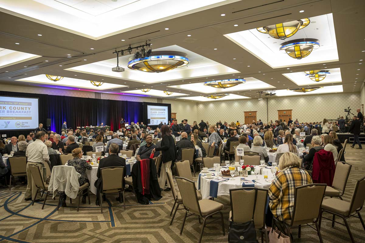 Hundreds of people gather for the 2019 Clark County Prayer Breakfast inside the downtown Vancouver Hilton's main conference room. Photo by Jacob Granneman