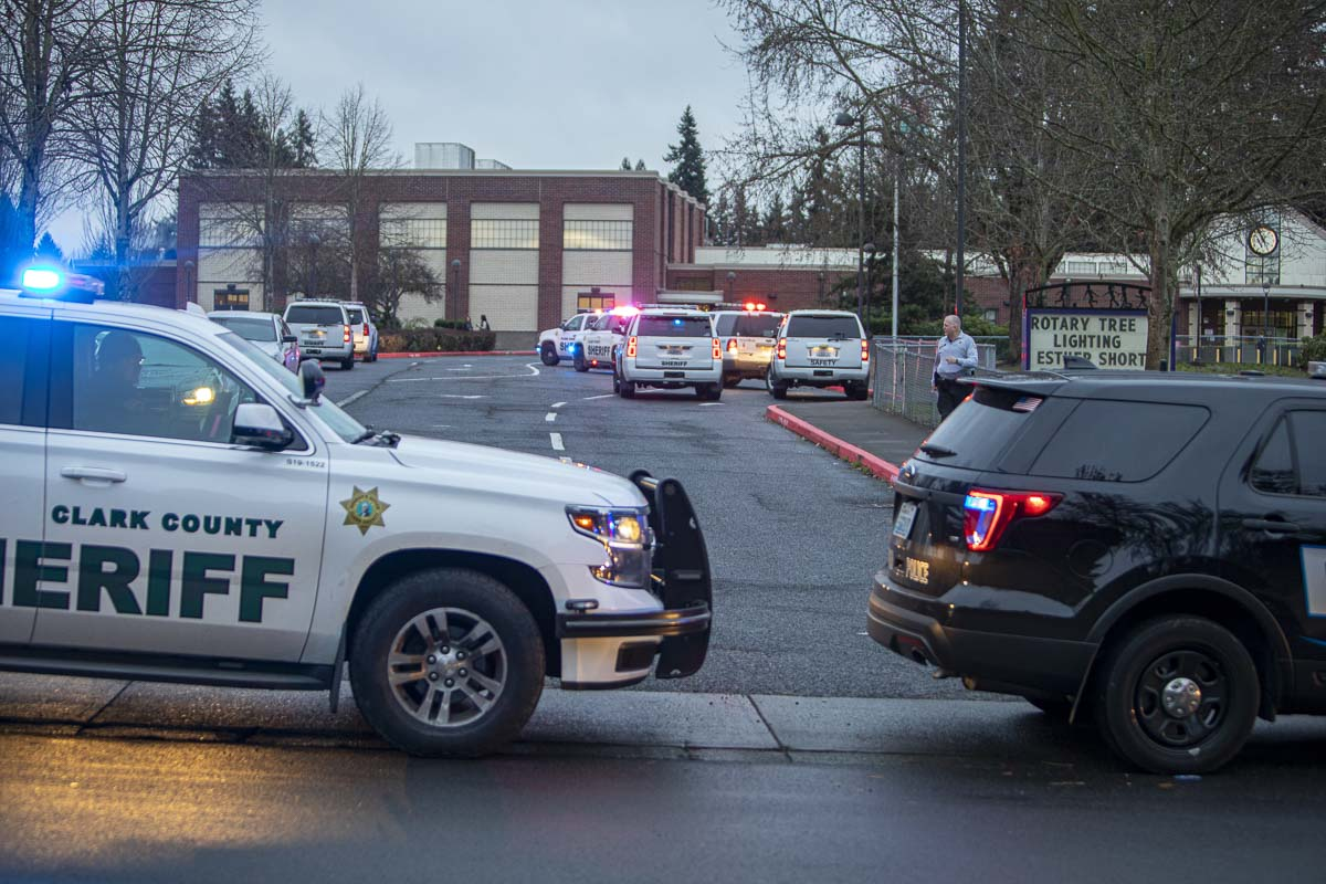 Law enforcement from across Clark County swarmed Sarah J. Anderson Elementary School this afternoon after two people were shot in the parking lot. Photo by Jacob Granneman