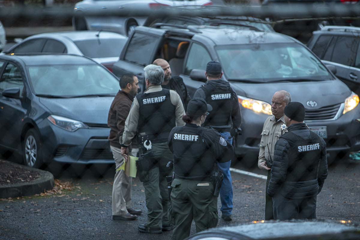 Two people were shot in the parking lot of Sarah J. Anderson Elementary School in Vancouver this afternoon. The suspect later took his own life. Photo by Jacob Granneman