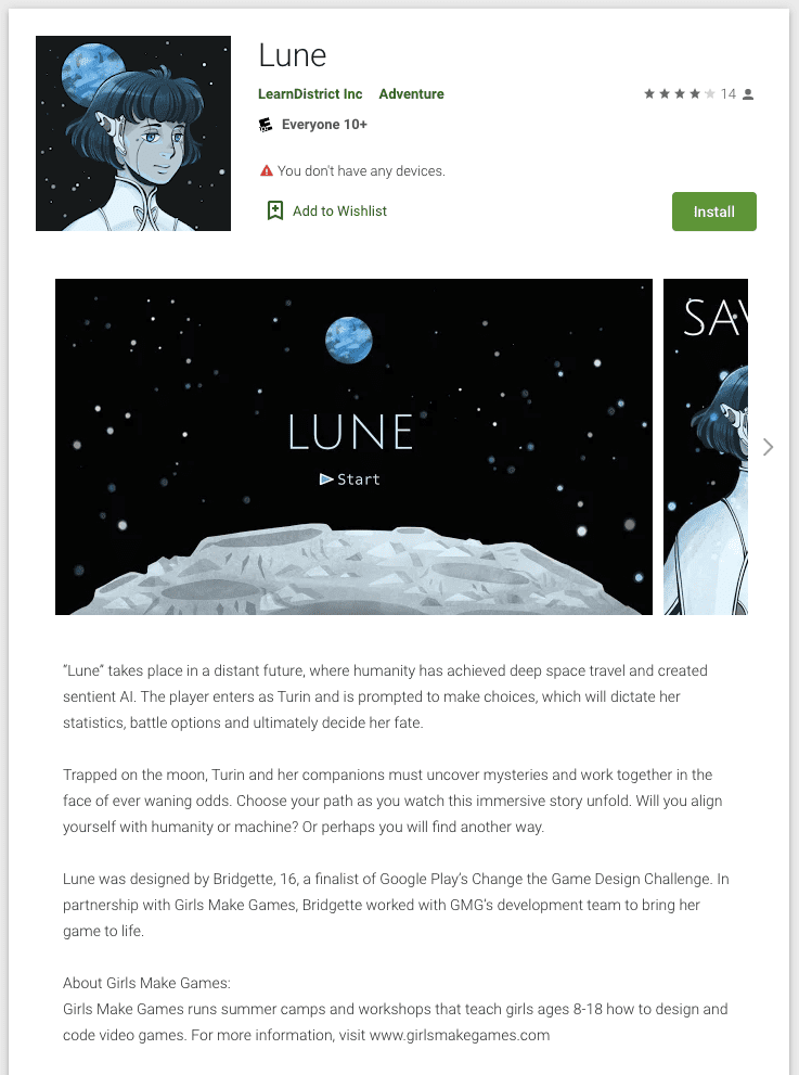 The game Lune tells the story of a sentient artificial intelligence, Turin, and her journey through the mysterious world on the lunar surface. Screenshot via Google Play store