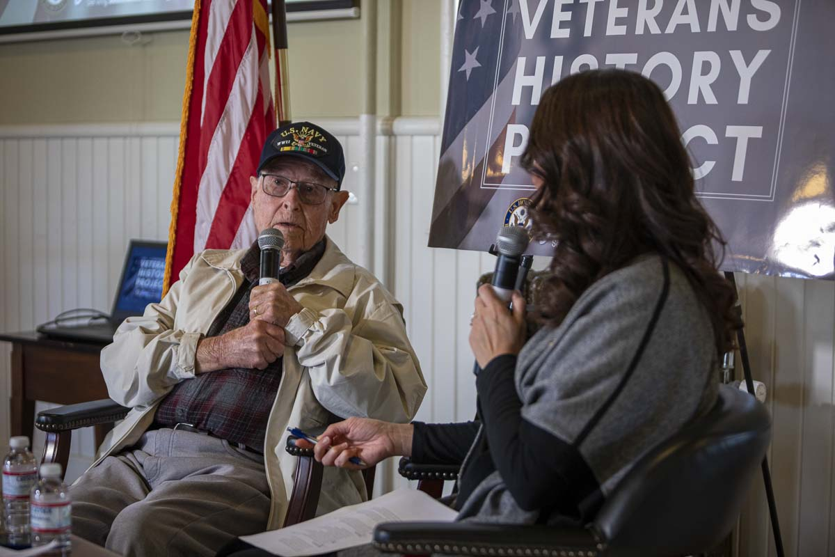 "John ""Jack"" Hooghkirk is interviewed by Congresswoman Jaime Herrera Beutler during her event with the Veterans History Project. Photo by Jacob Granneman"
