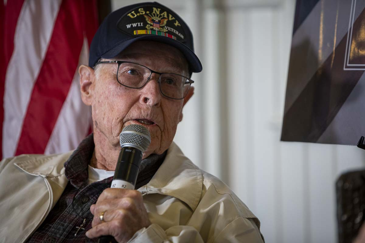 "John ""Jack"" Hooghkirk served in the Navy during WWII as a signalman on a merchant ship in the Pacific. Photo by Jacob Granneman"