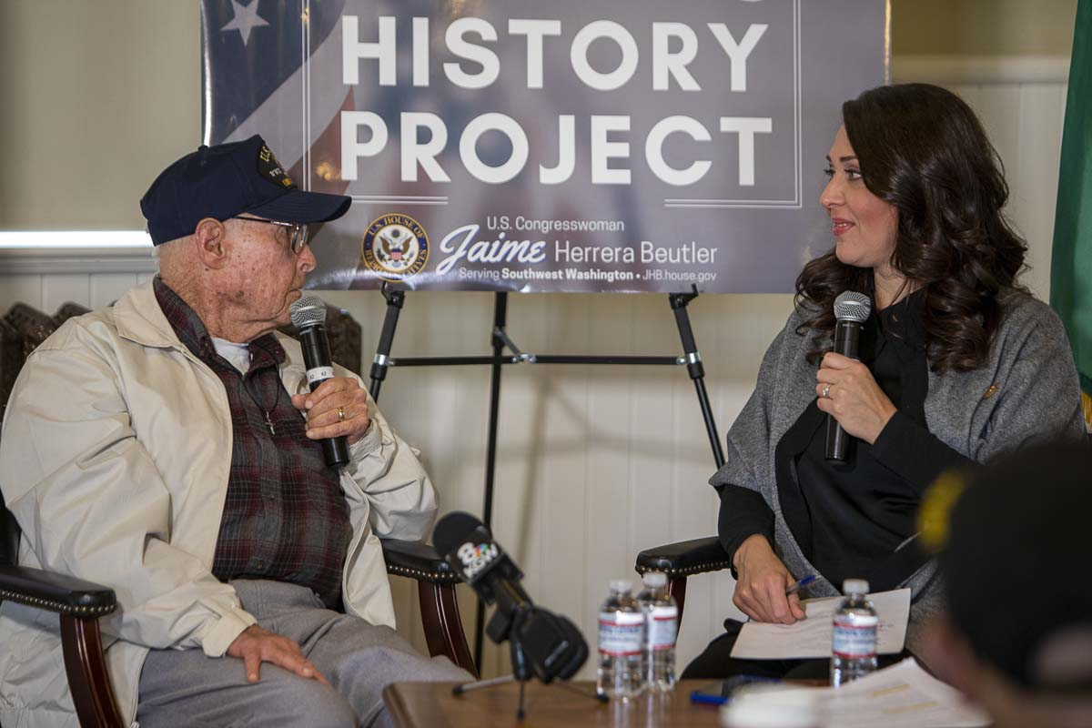 During his interview with Herrera Beutler, Jack shared his memories from the day the Japanese attacked Pearl Harbor. Photo by Jacob Granneman