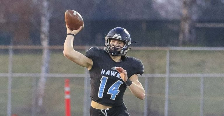 Levi Crum, shown here in the quarterfinals, called it a dream come true to play for the Hockinson Hawks. The Hawks lost in the state semifinals Saturday night. Photo by Mike Schultz