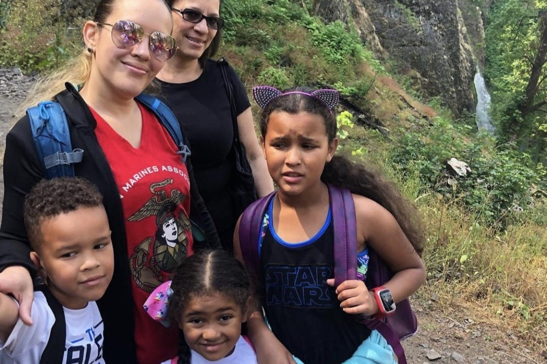 Tiffany Hill pictured with her mother and three children. Image courtesy Tabitha Ojeda