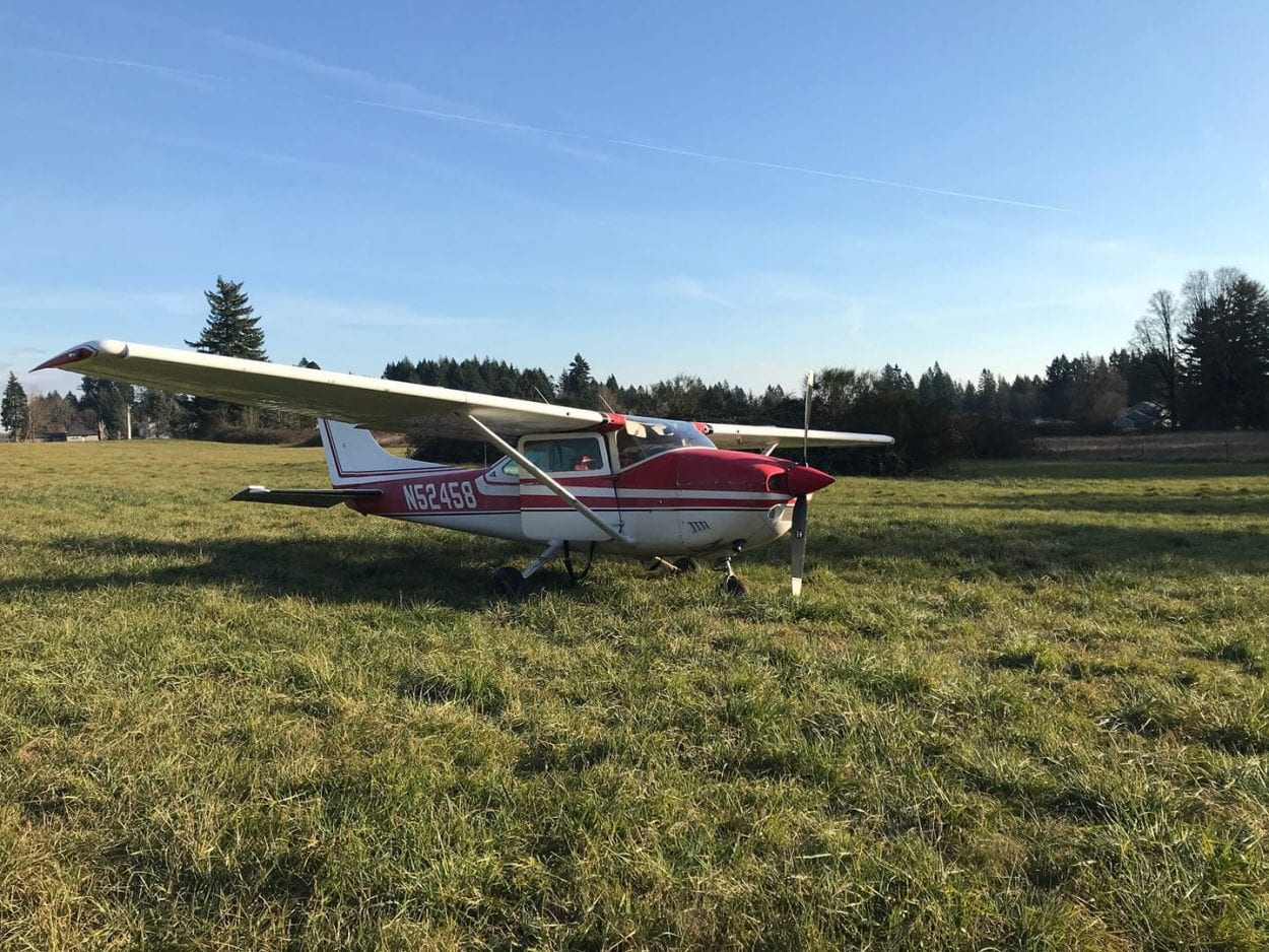 This single-engine cessna went off the runway at Grove Field in Camas. The four passengers on board were uninjured. Photo courtesy Clark County Sheriff's Office