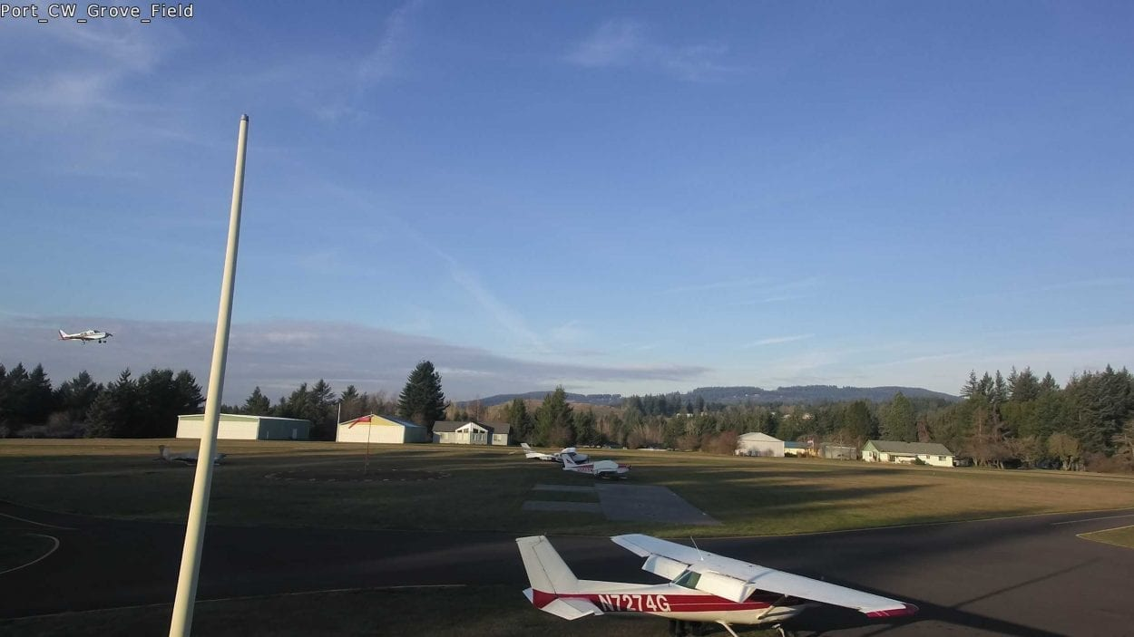A single-engine Cessna went off the runway at Grove Field in Camas on Thursday. The four people on board were not injured. Photo from Grove Field Webcam