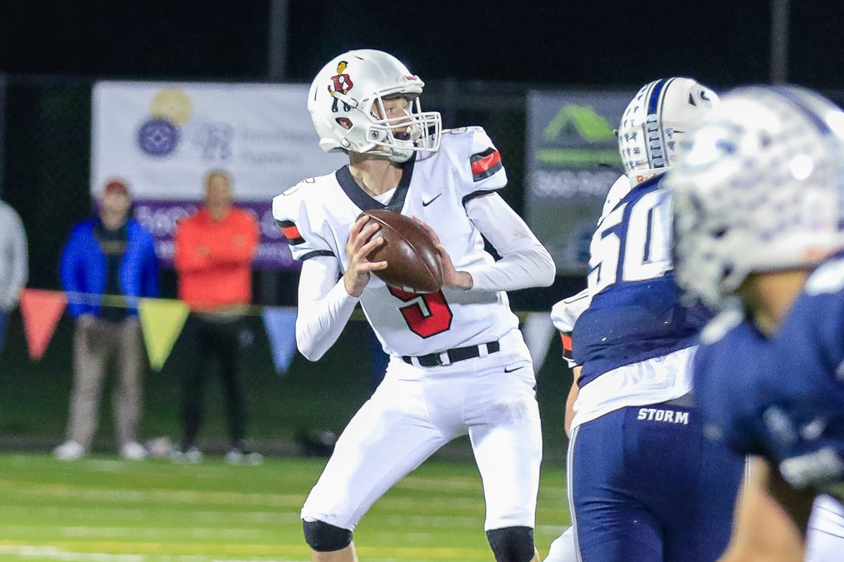 Camas senior Blake Asciutto has come a long way since the Week 8 Skyview game. He is 5-0 as the starting quarterback and has helped the Papermakers reach the state championship game. Photo by Mike Schultz