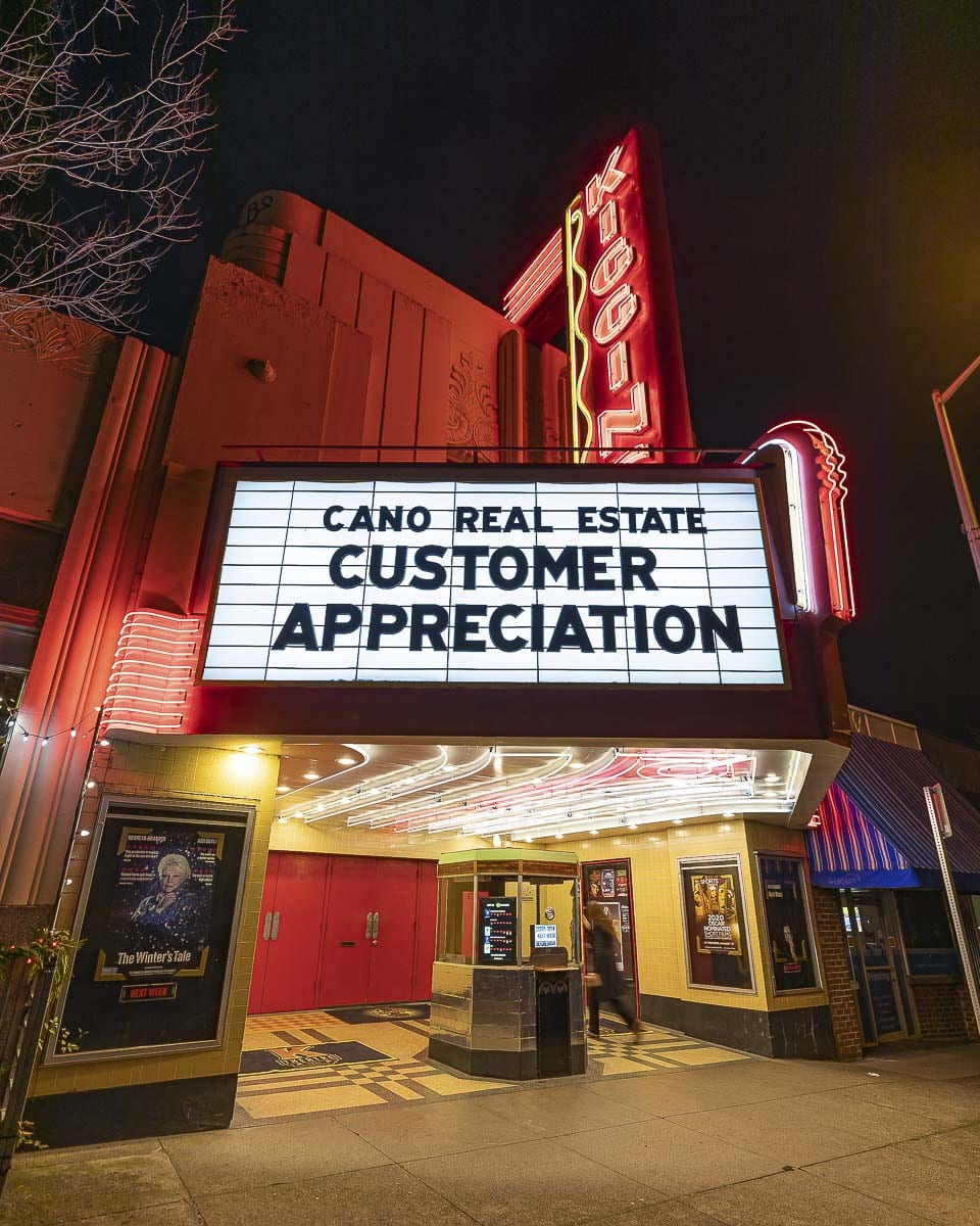 The marquee at Kiggins Theatre greeted visitors on Dec. 9 with the announcement of the Cano Real Estate Customer Appreciation event. Photo by Mike Schultz