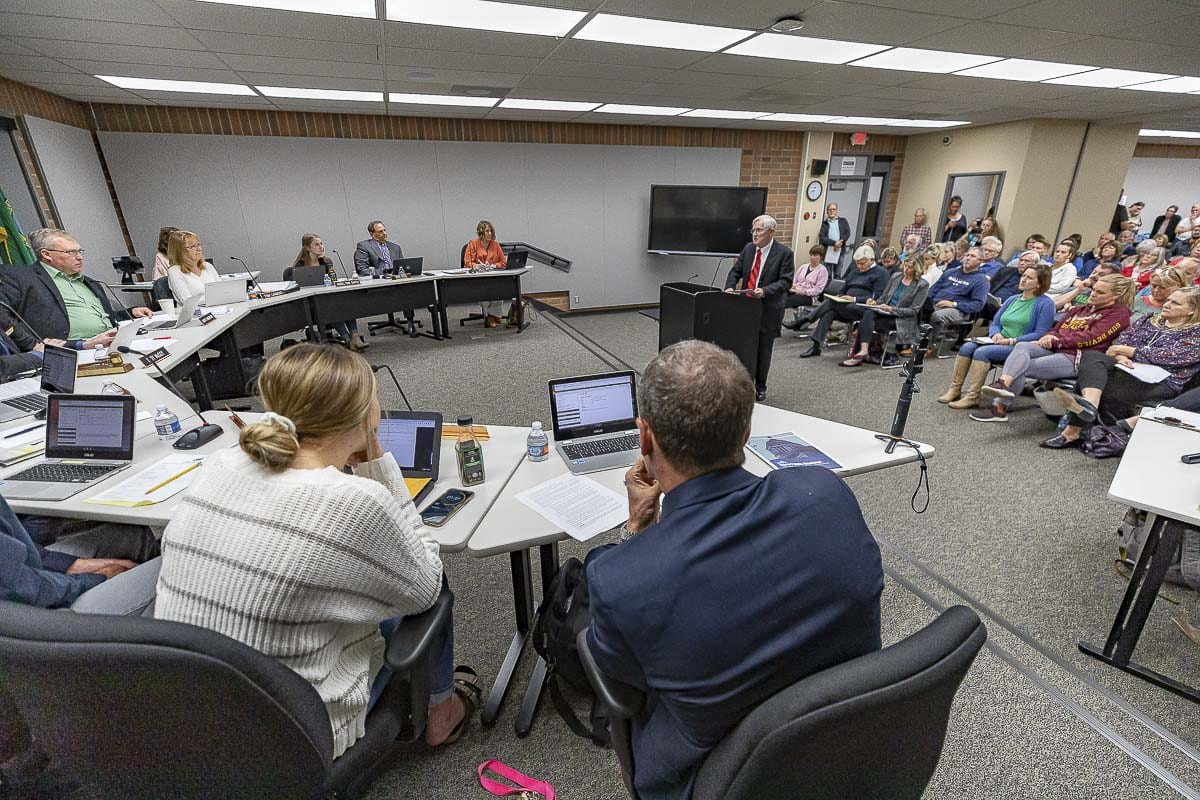 Members of the Battle Ground School Board hear testimony on Comprehensive Sexual Health Curriculum at an Oct. 14 meeting. Photo by Mike Schultz