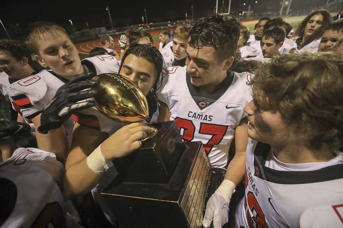 Camas claimed the Class 4A state high school football championship Saturday thanks in large part to the contributions of many different players. Photo by Mike Schultz
