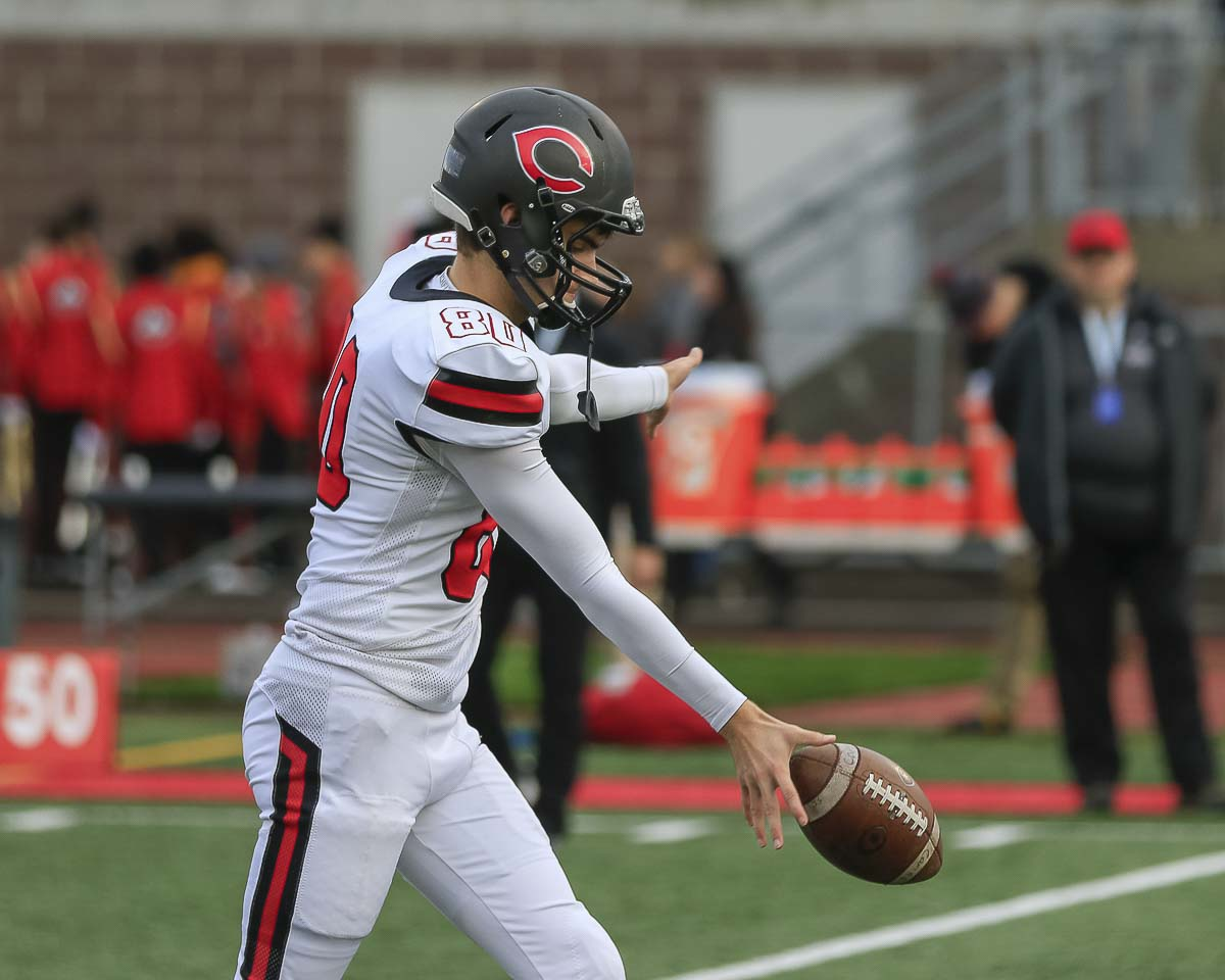 Camas punter Bryce Leighton showed why he was selected as an All-American with a 55-yard punt at a key moment of Saturday's state championship game. Photo by Mike Schultz