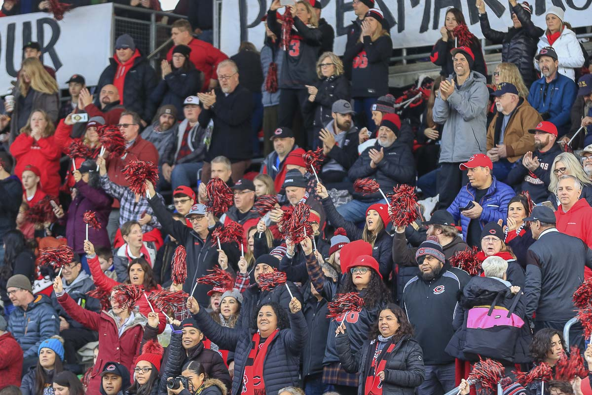 Camas fans cheer on their Papermakers Saturday at the Class 4A state high school football championship game at Mount Tahoma High School in Tacoma. Photo by Mike Schultz