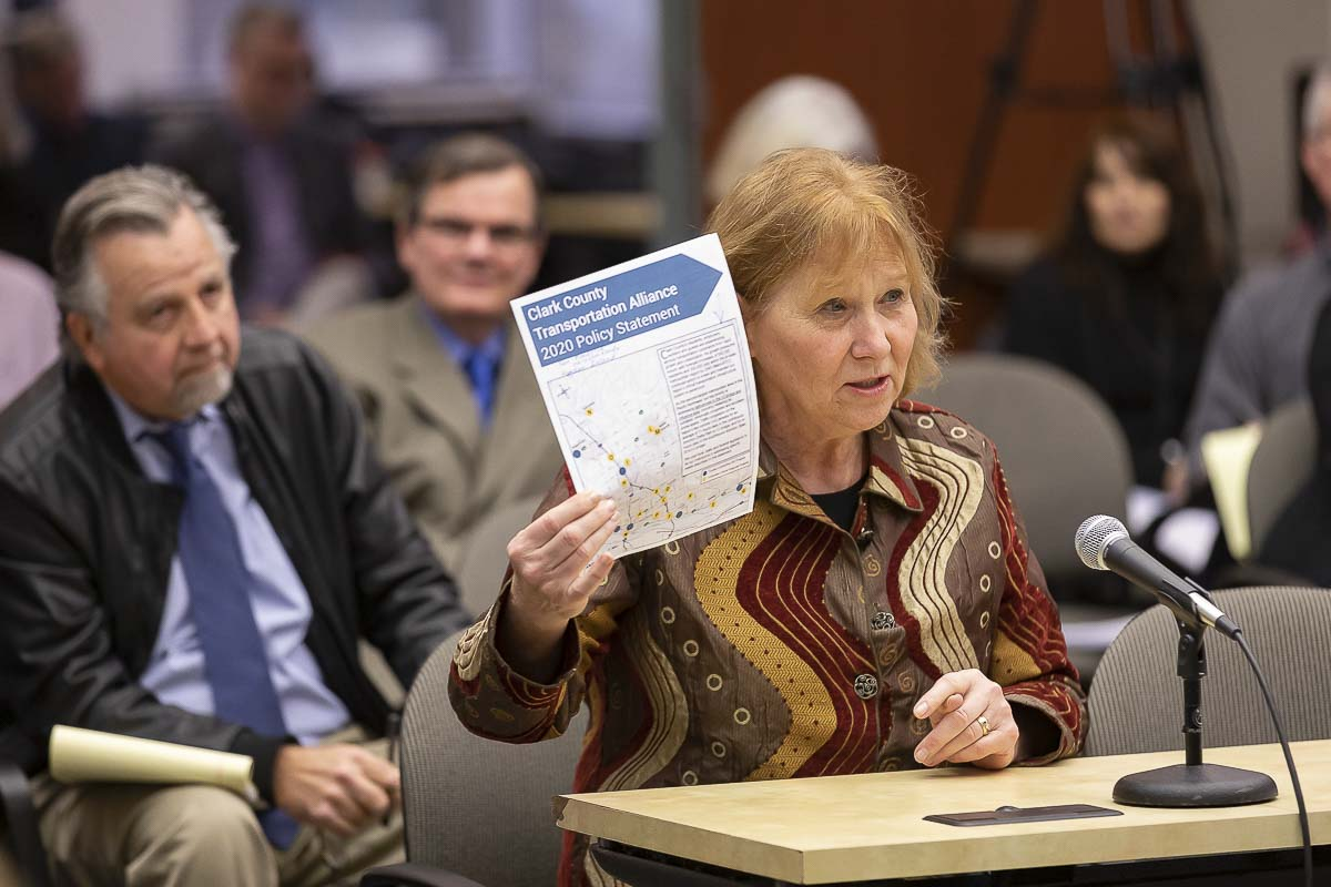 Vancouver Mayor Anne McEnerny-Ogle presents the Clark County Transportation Alliance 2020 policy statement to members of the Joint Interim Committee on the Interstate 5 Bridge during their December meeting. Photo by Mike Schultz