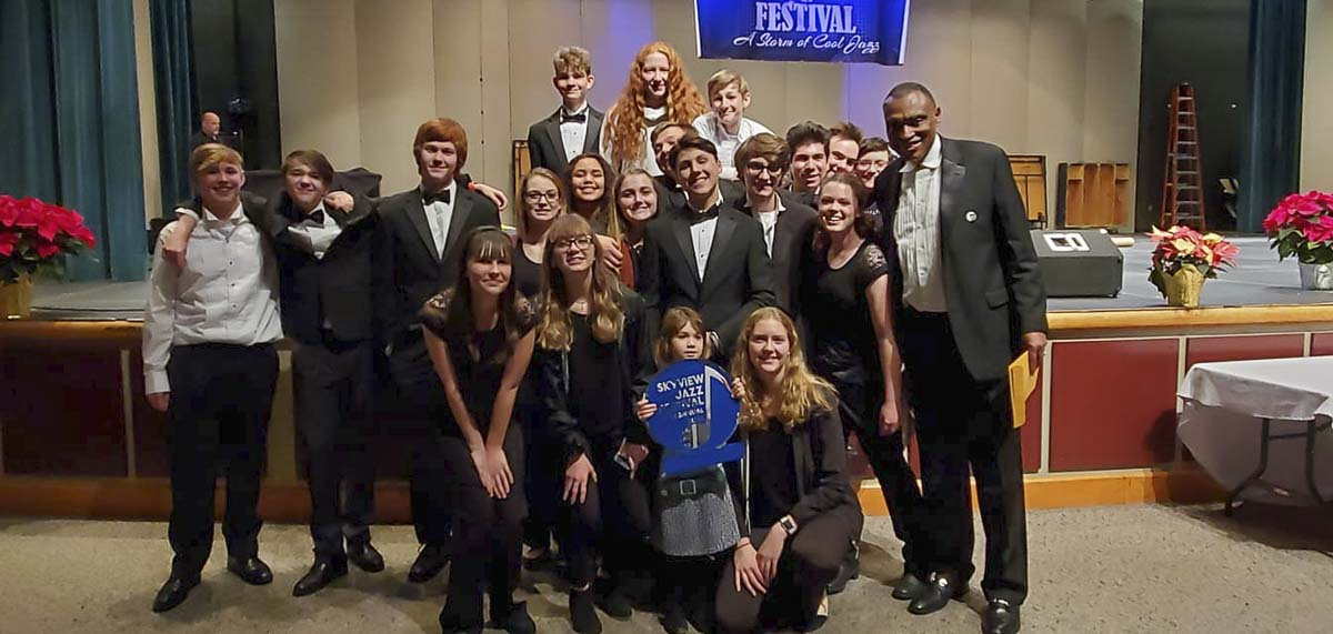 Students in the Battle Ground High School Advanced Jazz Band are shown here with Director Greg McKelvey. Photo courtesy of Battle Ground Public Schools