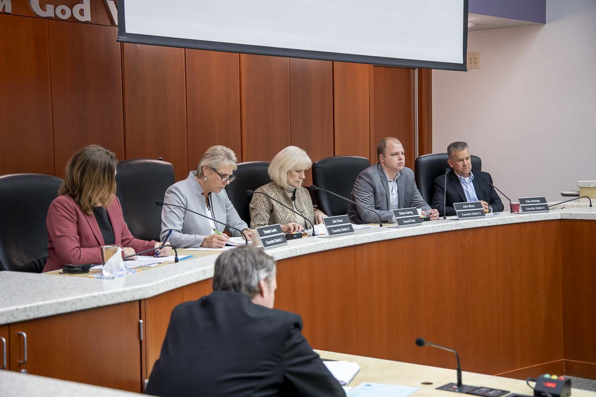 Members of the Clark County Council discusses the 2020 budget in November of this year. Photo by Chris Brown
