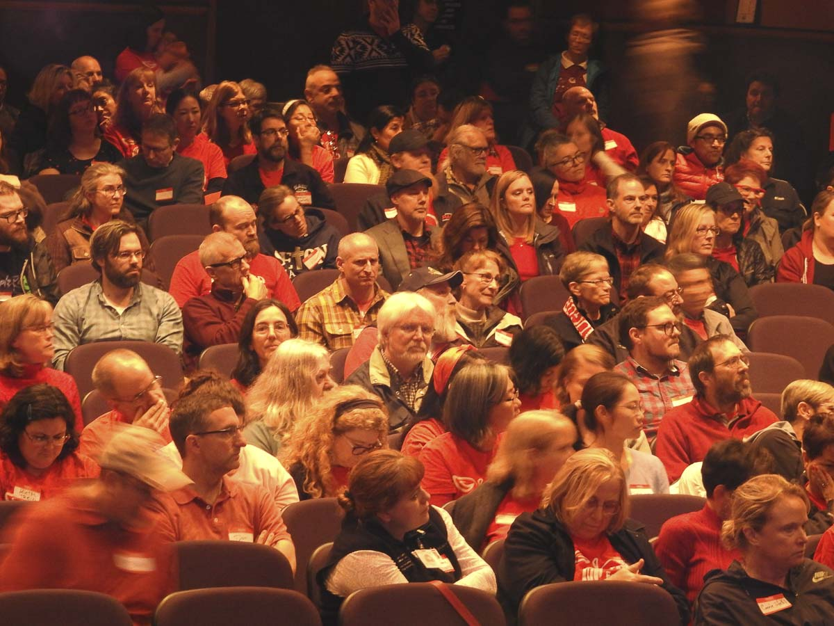 Over 300 Clark College Association of Higher Education members voted unanimously on Saturday to authorize union leaders to go on strike if agreement can't be reached on salary increases. Photo courtesy Washington Education Association