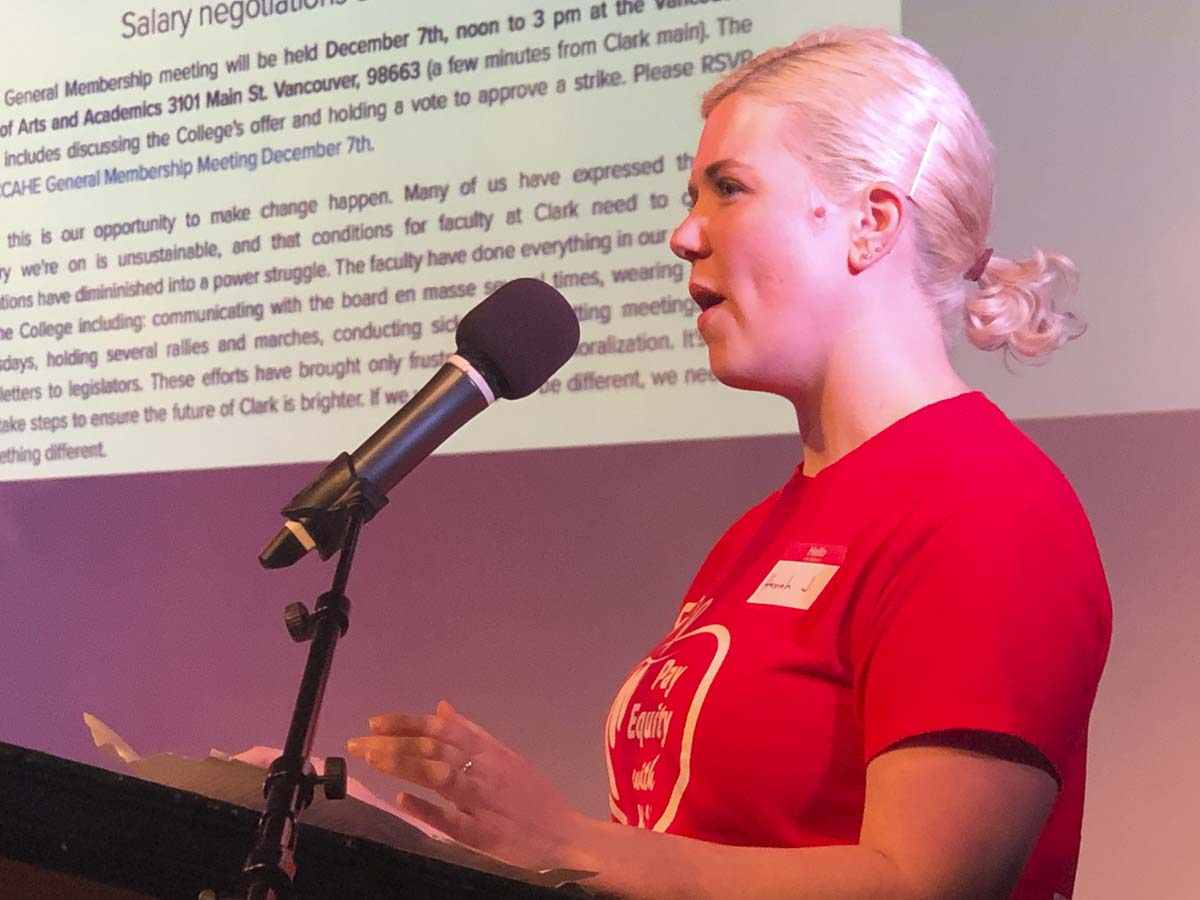 Hannah Jackson, a math professor at Clark College and chair of the AHE bargaining team, speaks ahead of a vote on a possible strike Saturday. Photo courtesy Washington Education Association