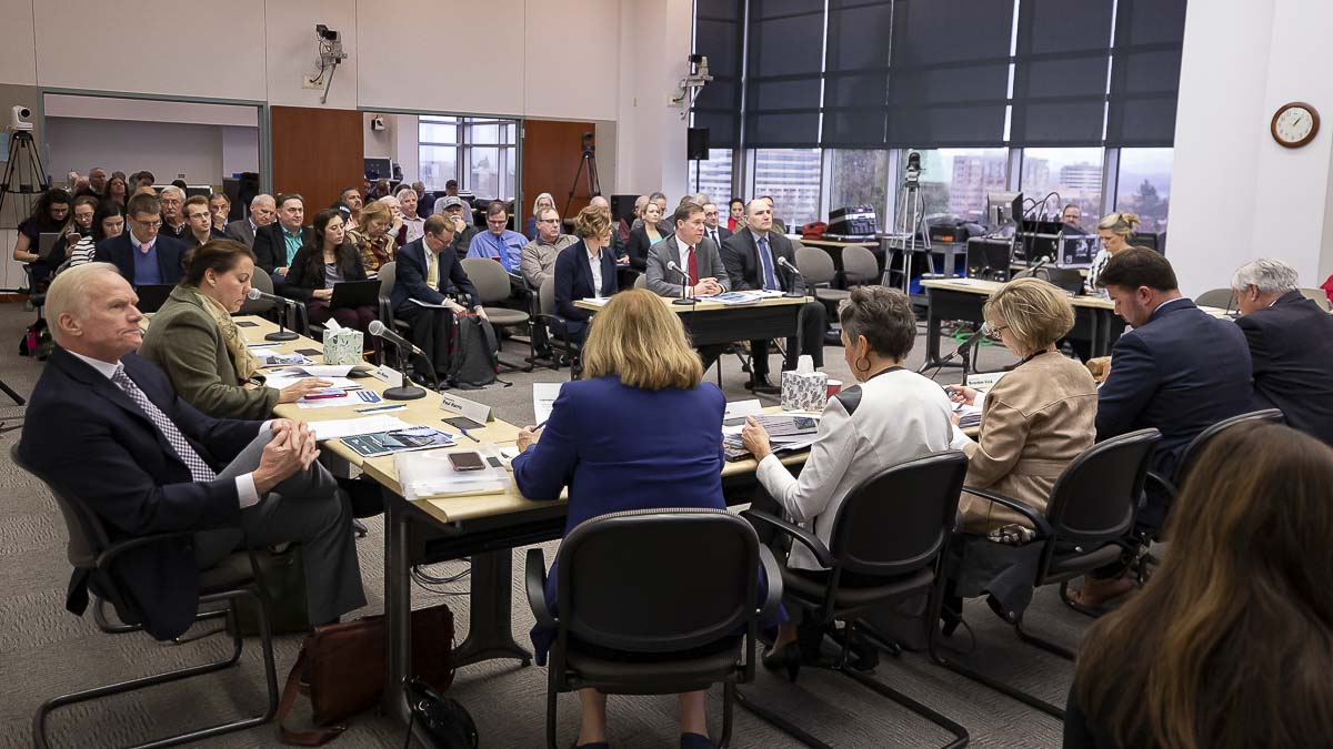The Joint Interim Committee on the Interstate 5 Bridge meets at the Clark County Public Service Center. Photo by Mike Schultz