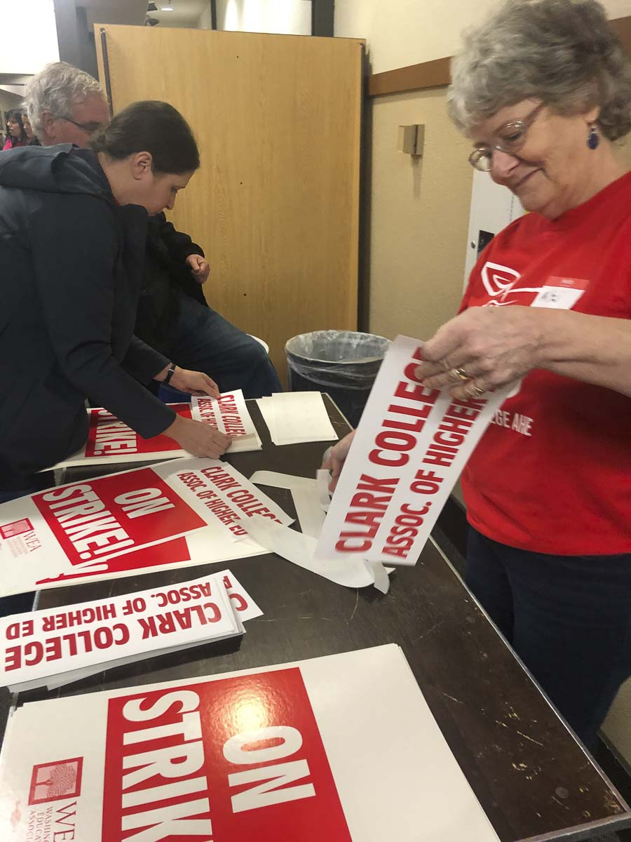 Faculty at Clark College aren't on strike yet, but they did vote to authorize leadership to go on strike at a meeting on Saturday. Photo courtesy Washington Education Association