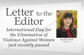Letter: International Day for the Elimination of Violence Against Women just recently passed (Nov. 25)