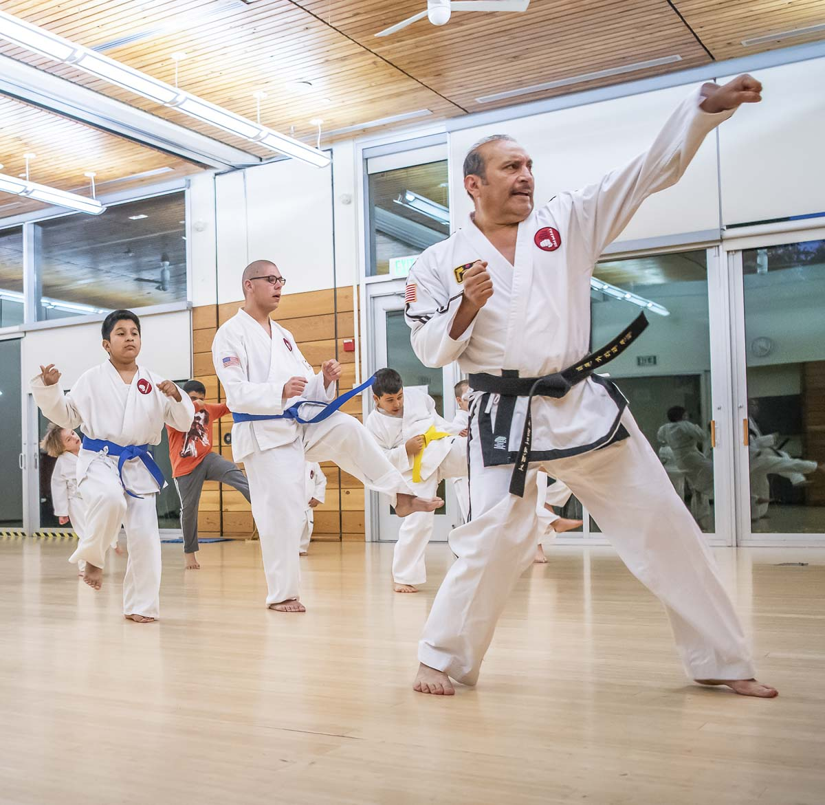 Three adults are shown here at a Vancouver Parks and Recreation karate class. Photo courtesy of city of Vancouver