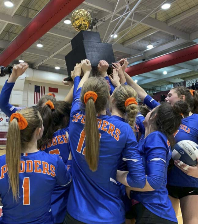 The Ridgefield Spudders won their second consecutive state volleyball title. Photo courtesy Ridgefield Athletics