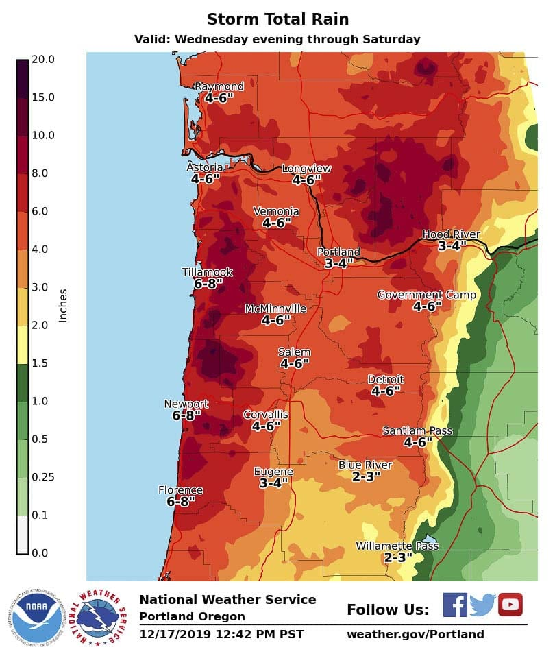 An 'atmospheric river' could bring up to five inches of rain to Clark County between tonight and Saturday according to the National Weather Service. Image courtesy @NWSPortland on Twitter