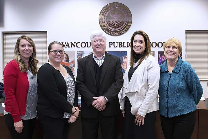 The current members of the Vancouver Public Schools Board of Directors gathered for a recent photo. Shown here (left to right) are board members Tracie Barrows, Wendy Smith, Mark Stoker, Kyle Sproul and Kathy Decker. Photo courtesy of Cheryl Boatman/Vancouver Public Schools