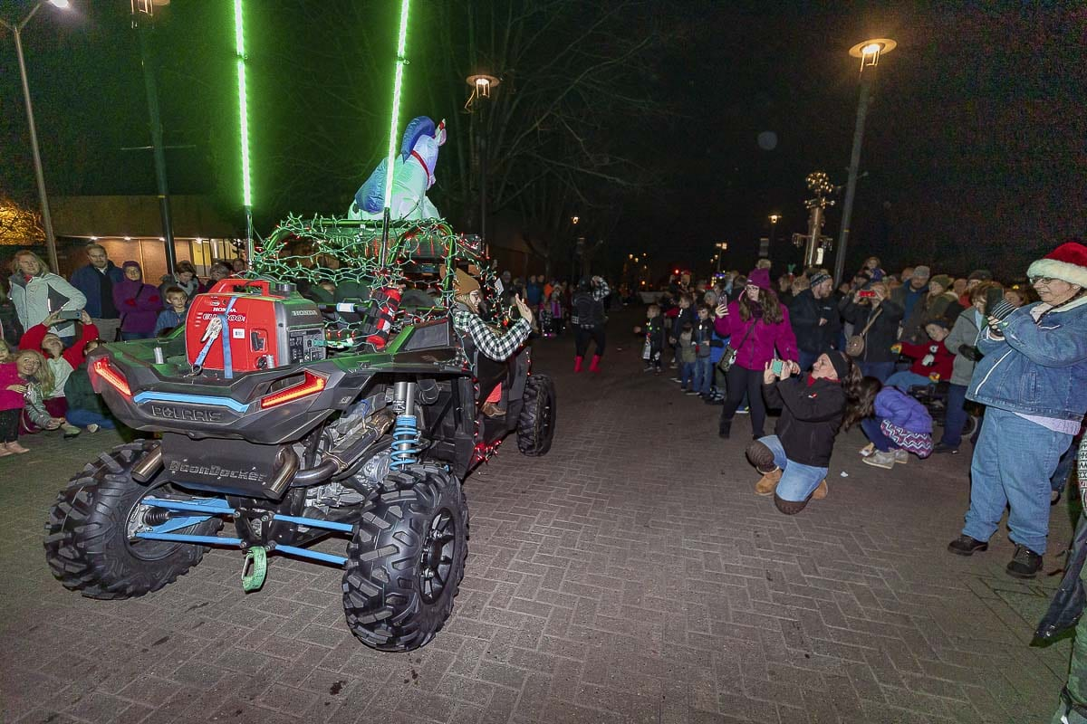 Even off-road vehicles had the chance to join the Christmas light action during the Washougal Holiday Parade. Photo by Mike Schultz