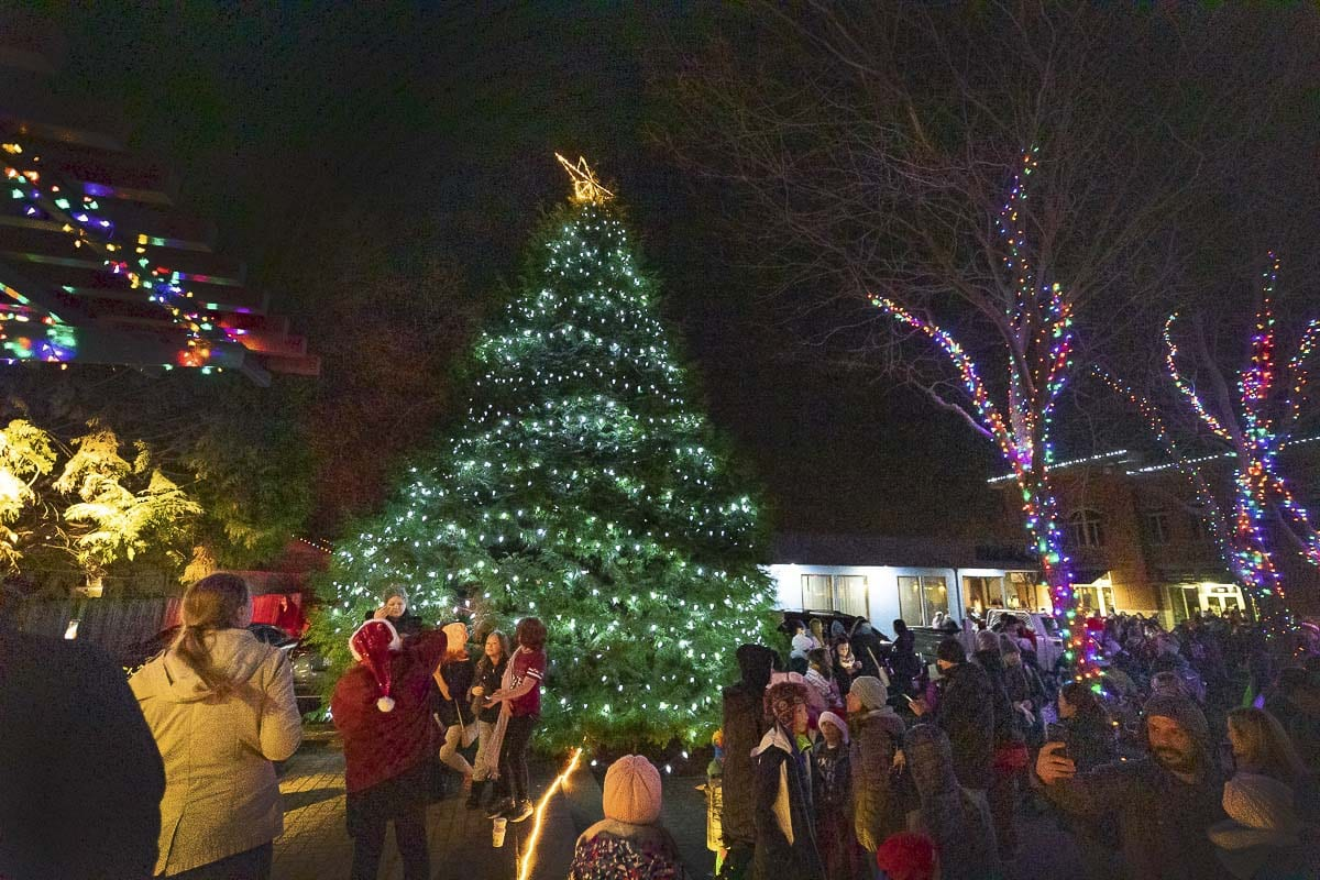 The Washougal Christmas Tree is seen here all lit up after the parade in Washougal. Photo by Mike Schultz