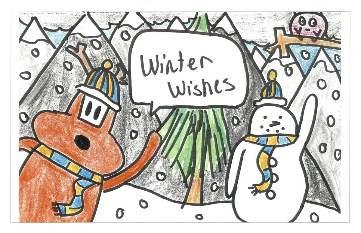 The winning entry in Ridgefield School District's Superintendent's Holiday Greeting Card Art Contest, submitted by Sunset Ridge Intermediate School sixth grader, Madeline Bruguier. Photo courtesy of Ridgefield Public Schools
